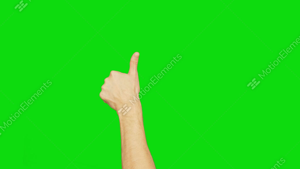 Man Rising Hand With Thumb Up On Left Hand On Green Chroma Key