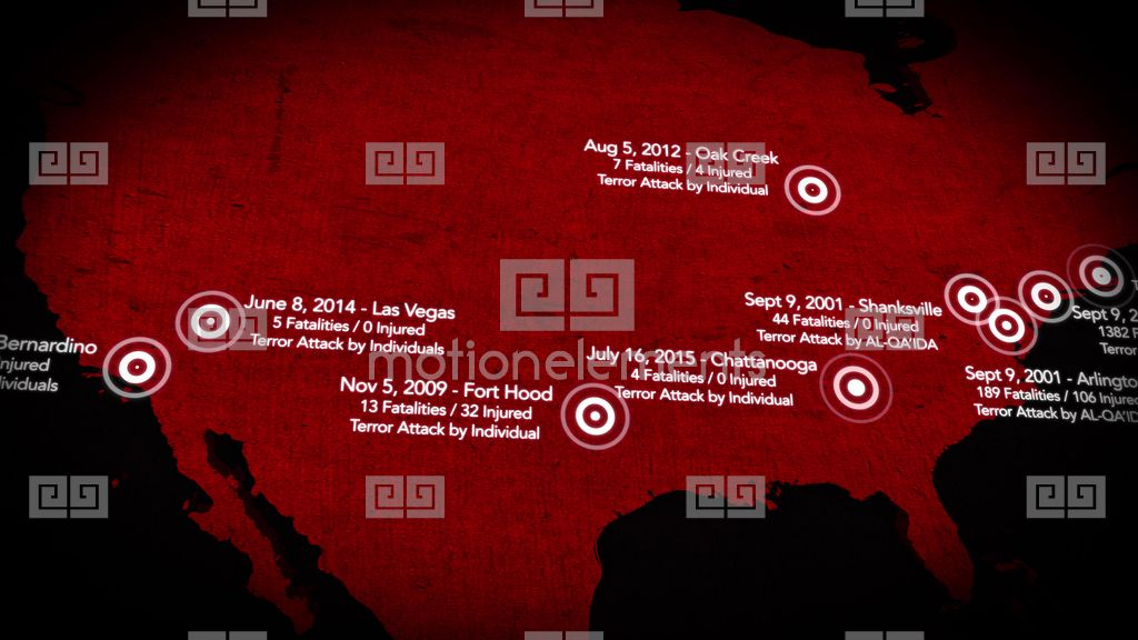 4k map of major terrorist attacks in the usa between stock video footage