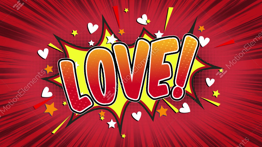 Love Word Retro Cartoon Comic Bubbles Seamless Loop Stock Footage