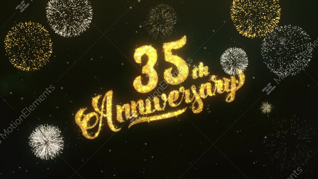 35th Anniversary Greeting And Wishes Glitter And Sparklers Particles