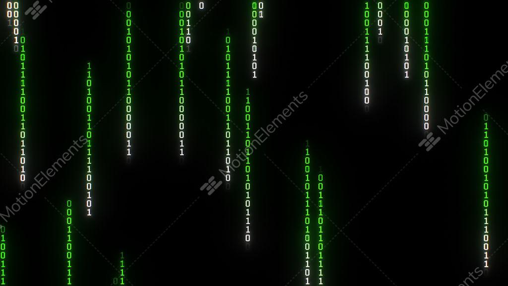 Binary Matrix Rain, Pixelated Stock Animation