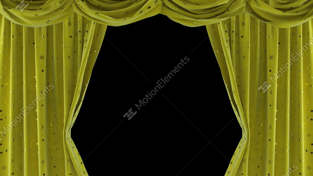 Yellow Velvet Curtains With Shiny Stars ULR Stock Video Footage