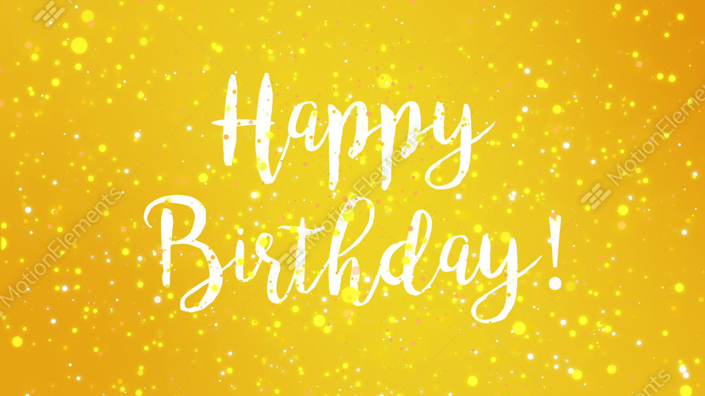 Sparkly Yellow Happy Birthday Greeting Card Video Stock Footage