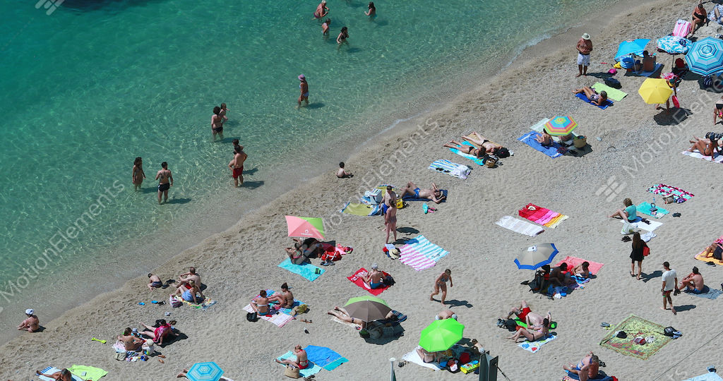 People Relaxing At The Beach Aerial View Stock Video Footage