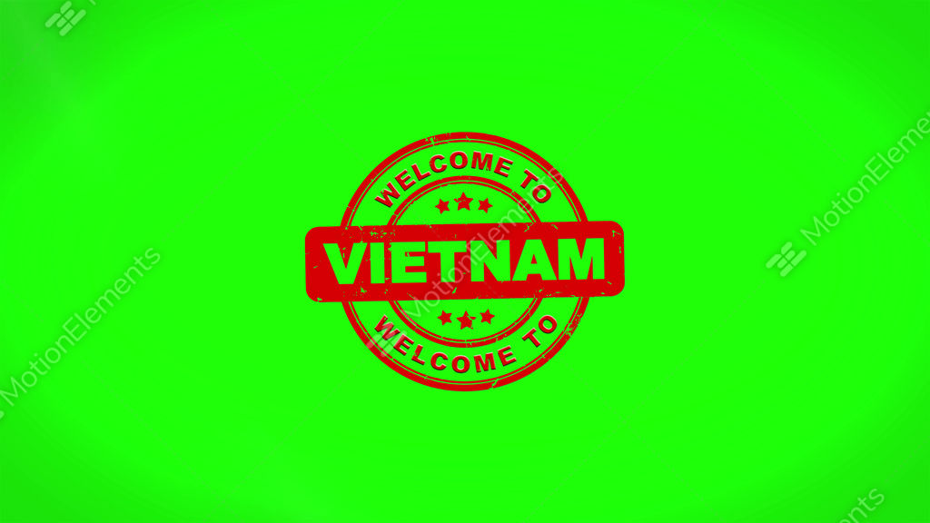 Welcome To Vietnam Signed Stamping Text Wooden Stamp Animation Stock Animation