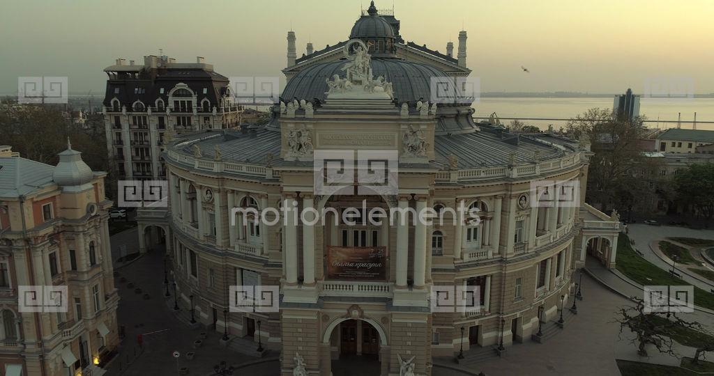Drone Tracks Sideways Pass The Odessa Opera Theatre Stock video footage