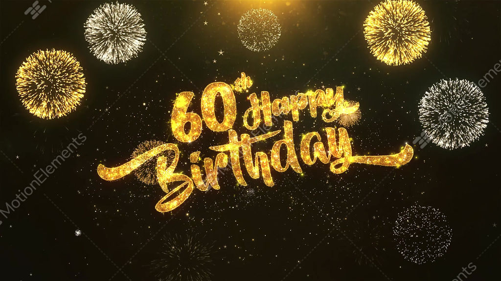 60th Happy Birthday Celebration Wishes Greeting Text On Golden Firework Stock Animation