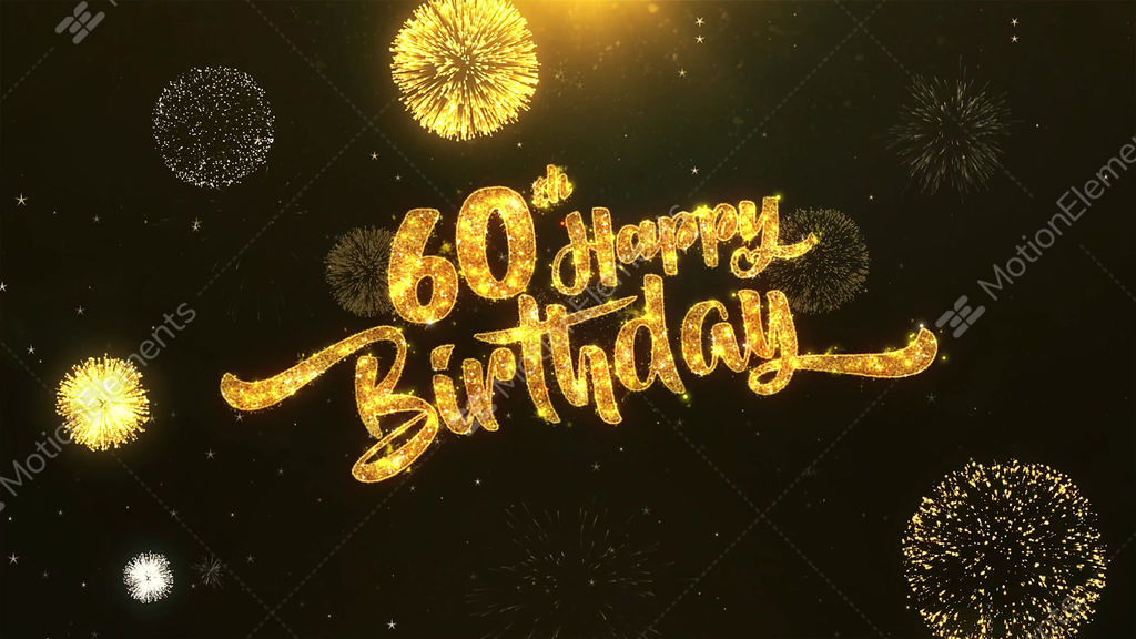 60th Happy Birthday Celebration Wishes Greeting Text On Stock Animation