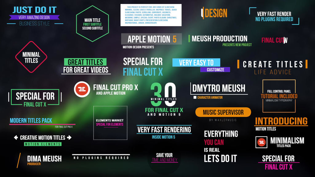 Minimal Titles For Final Cut Pro X Apple Motion templates