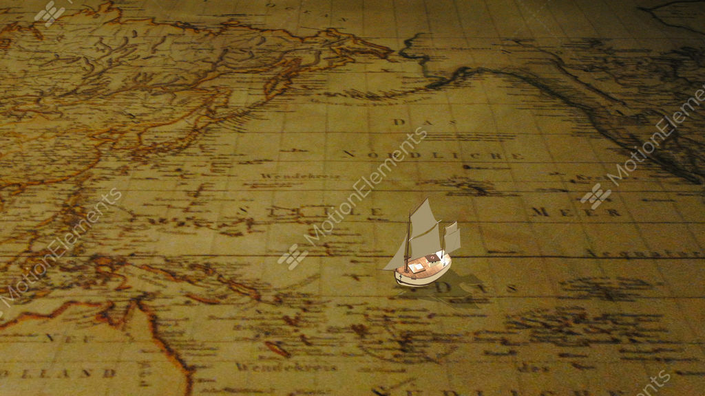 new arrivals a353d 6e762 Cartoon sailing ship on vintage world map Stock Video Footage