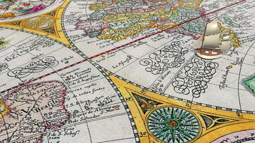 Cartoon Sailing Ship Crosses Equator On The Ancient World Stock Video Footage