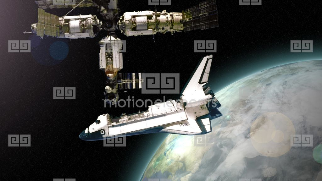 4k space shuttle docks with space station 4148 stock video - 4k space shuttle ...