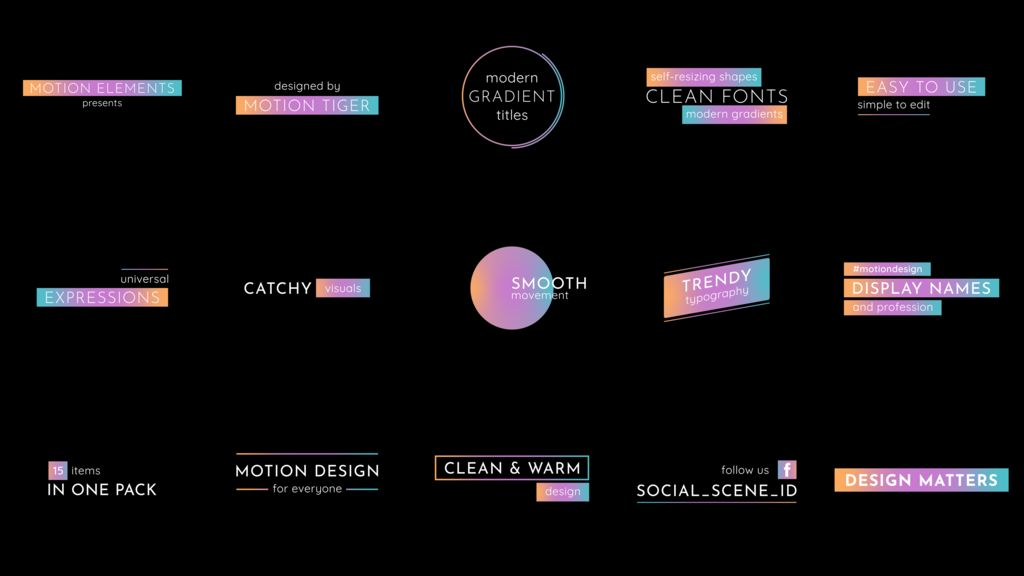 Modern Gradient Titles After Effects templates