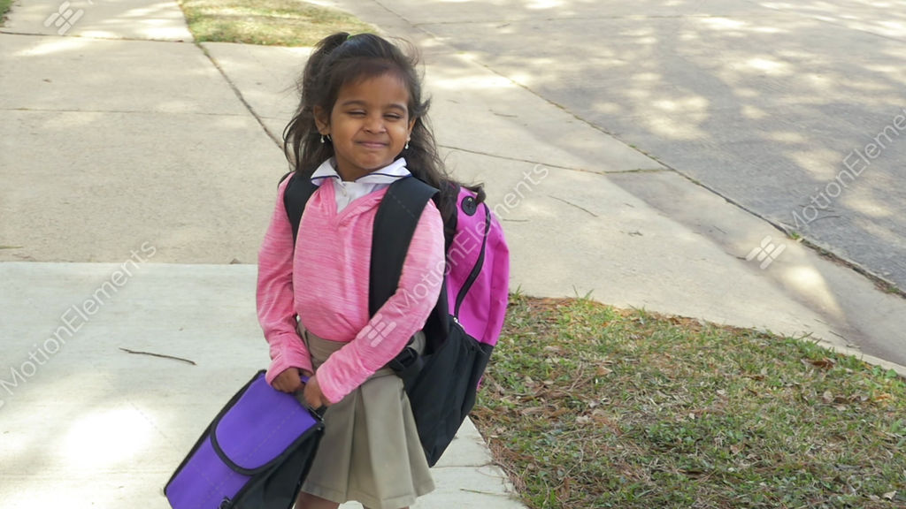 Cute Little Indian Girl Happy About Going To School Slow