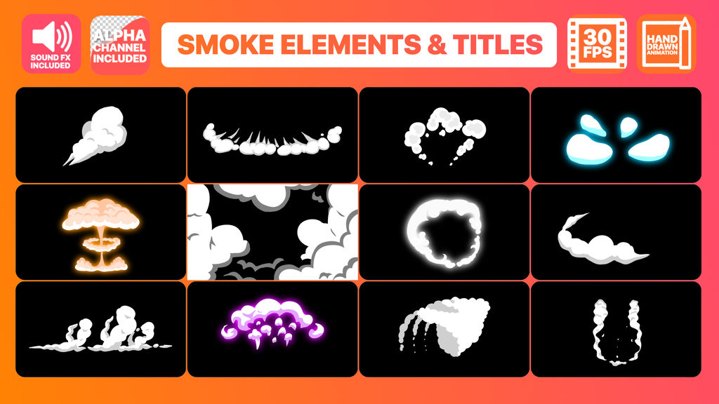2DFX Smoke Elements And Titles After Effects templates