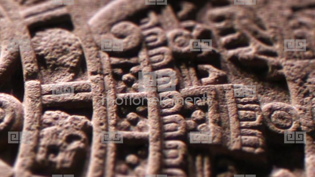 Aztec sun stone carving close up stock video footage 9229041