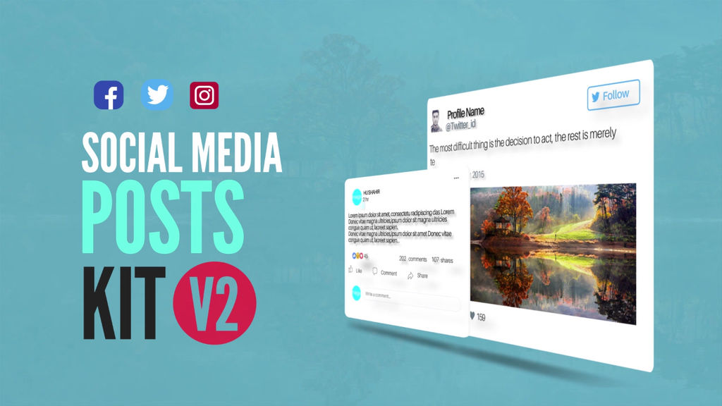 Social Media Animated Post Kit V2 After Effects templates