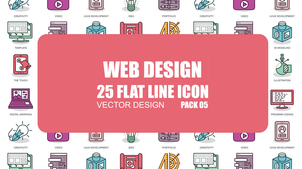 Web Design - 25 Flat Line Icons After Effects templates