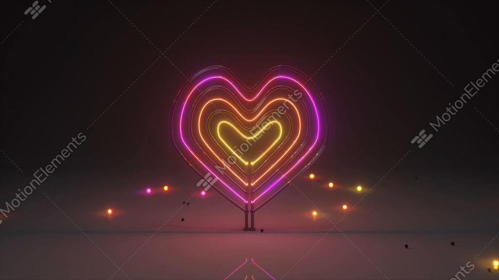 Flickering Neon Light Heart Symbol 3D Render Seamless Loop Animation Stock  Animation