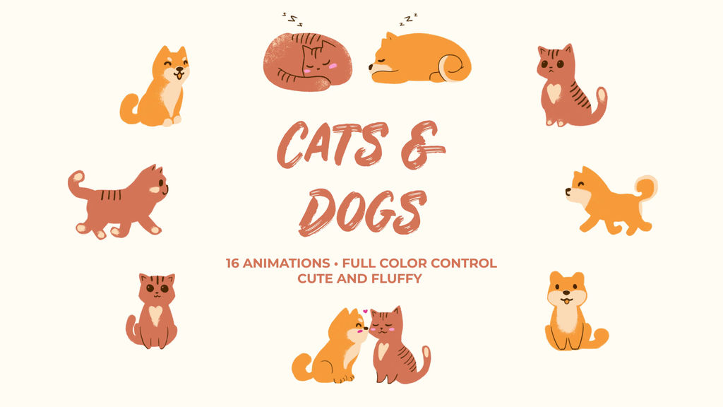 Cats And Dogs. Hand Drawn Pack Premiere Proテンプレート