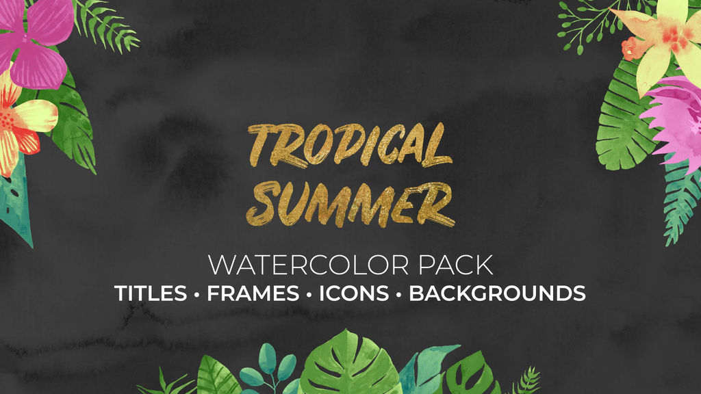 Tropical Summer Watercolor Pack Pr ME Premiere Pro Template