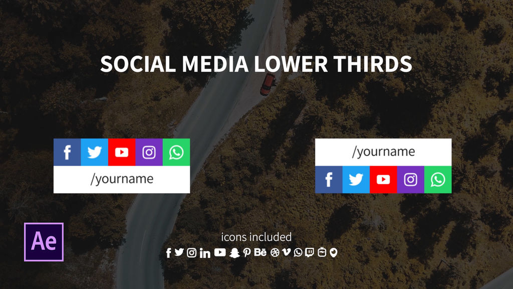 Lower Third With 5 Social Media Icons In A Row After Effects<wbr>テンプレート