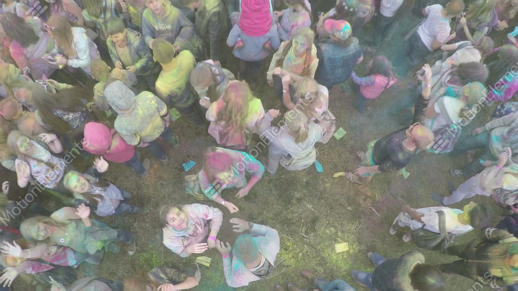Happy People On Colours Festival Aerial Shot Stock Video Footage
