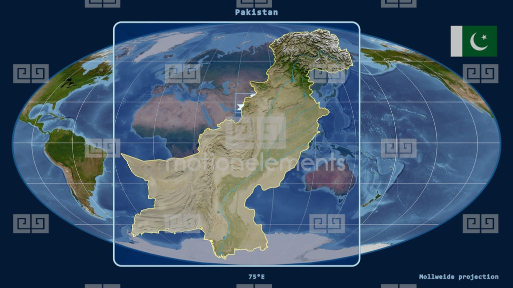 Pakistan D Tube Zoom Mollweide Projection Satellite Stock Video Footage