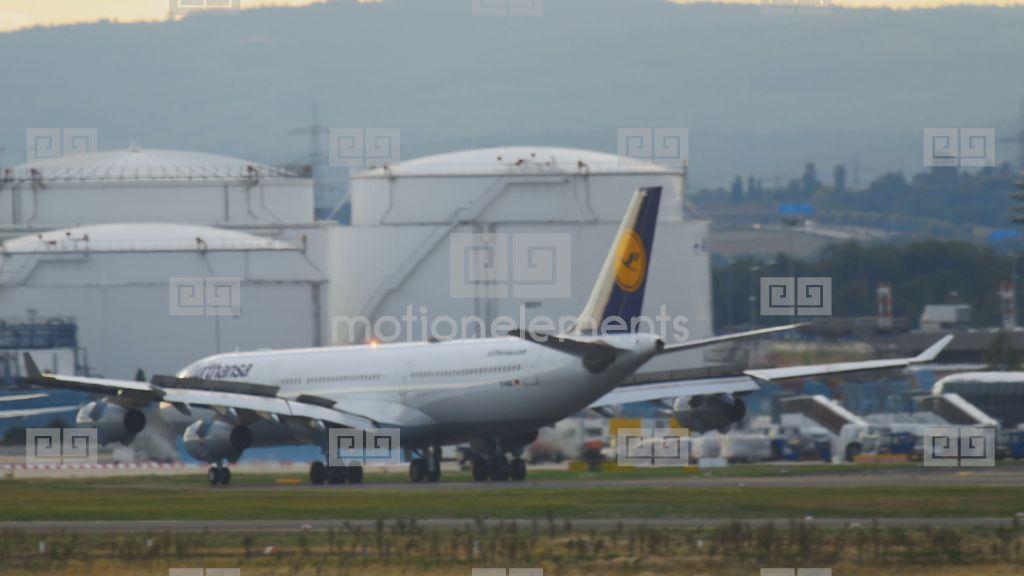 Airbus 340 Landing In Frankfurt Stock video footage