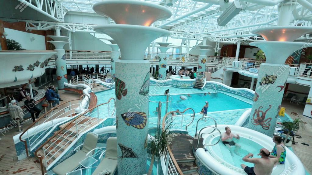 Indoor pool and hot tub  Fun Cruise Ship Indoor Swimming Pool Hot Tub HD 7756 Stock video ...