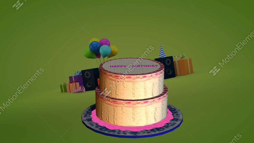 Nr638 Girl Jumps Out Of Birthday Cake Stock Animation