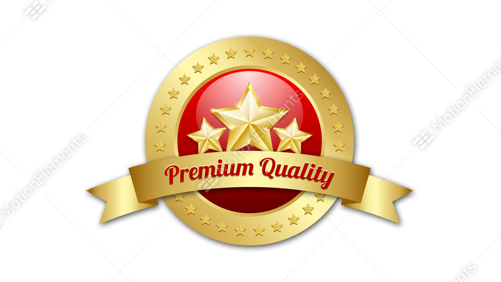Three Golden Stars Symbol With Premium Quality Ribbon And Plaque On