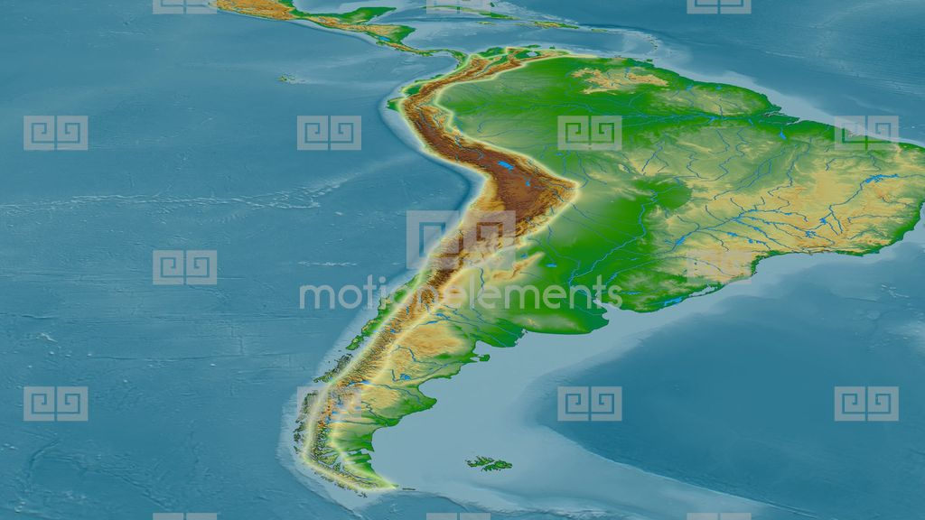Revolution Around Andes Mountain Range - Glowed. Colored Physical ...