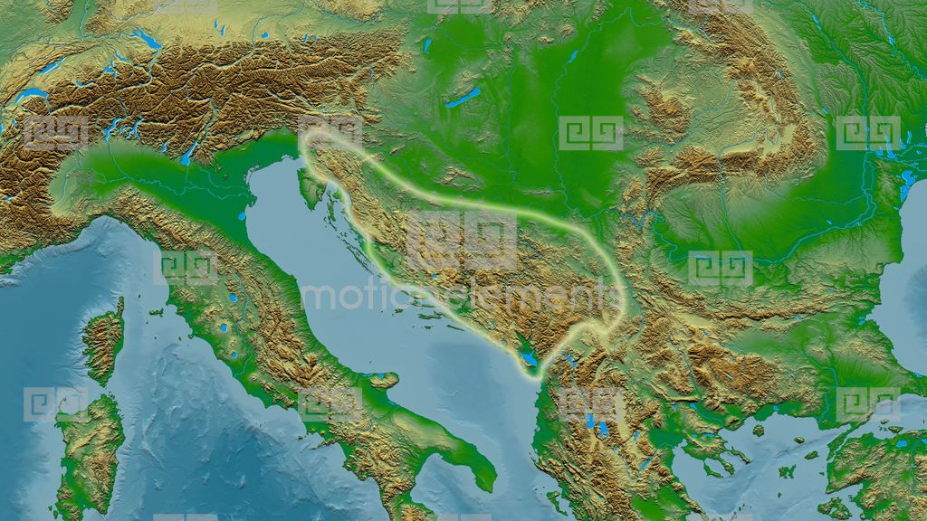 Zoom Into Dinaric Alps Mountain Range - Glowed. Colored Physical Map ...
