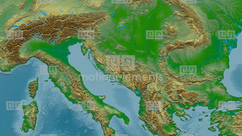 Zoom Into Dinaric Alps Mountain Range - Masks. Colored Physical Map ...