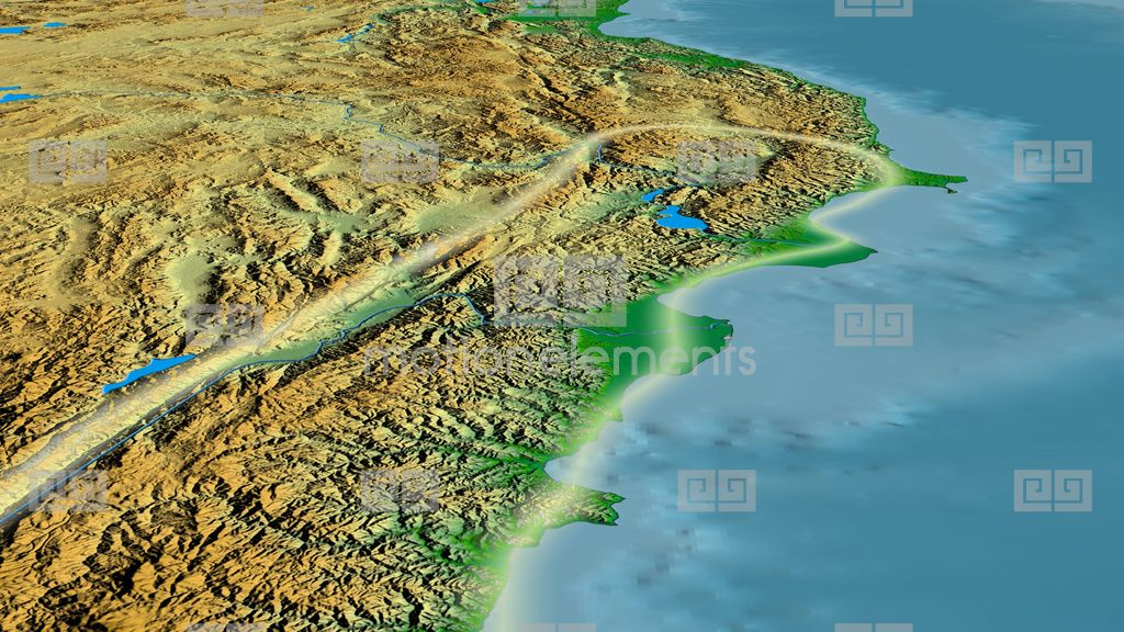 Glide Over Pontic Mountain Range Glowed Colored Physical Map