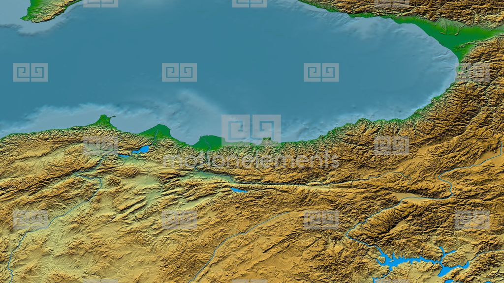 Zoom Into Pontic Mountain Range Masks Colored Physical Map Stock