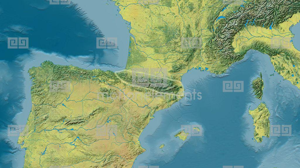 Zoom Into Pyrenees Mountain Range - Glowed. Topographic Map Stock ...