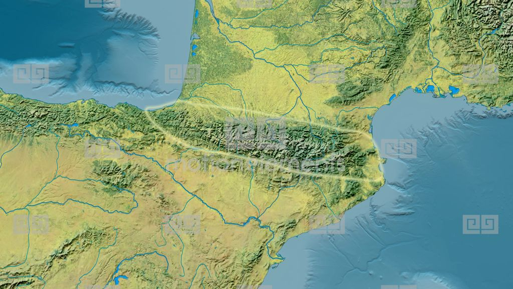 Pyrenees Mountains Map Zoom Into Pyrenees Mountain Range   Glowed. Topographic Map Stock  Pyrenees Mountains Map