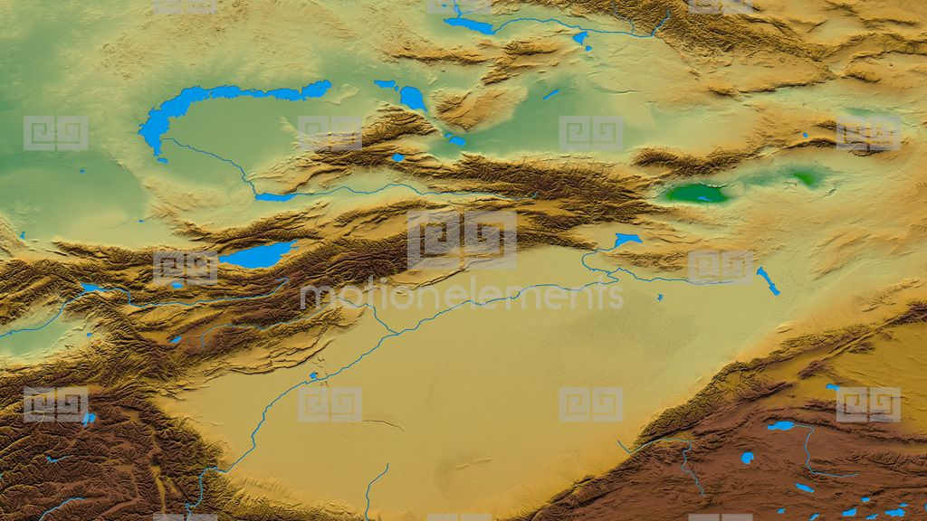 Zoom Into Tian Shan Mountain Range - Masks. Colored Physical Map ...