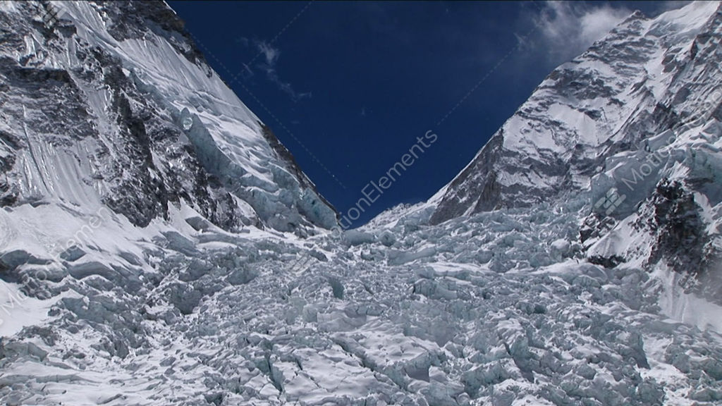 Zoom In On Top Of Khumbu Icefall Stock video footage | 1887741