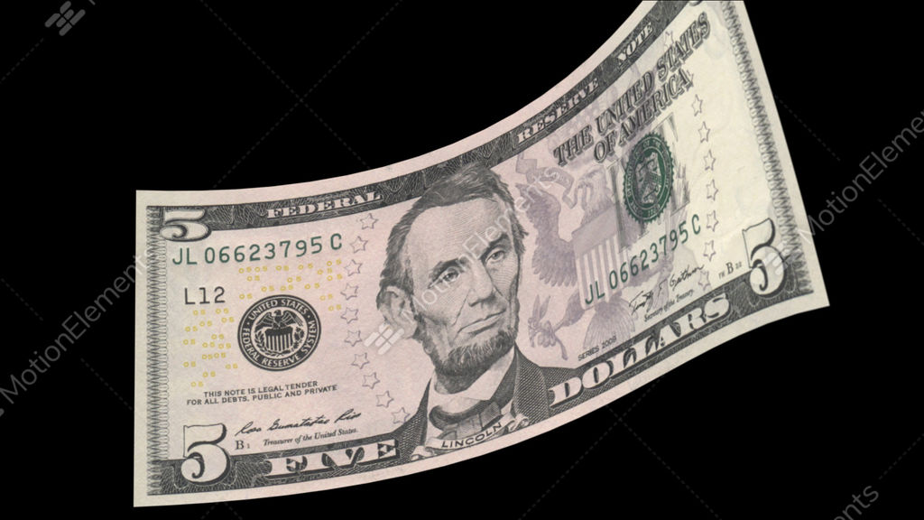 us 5 dollar bill stock animation