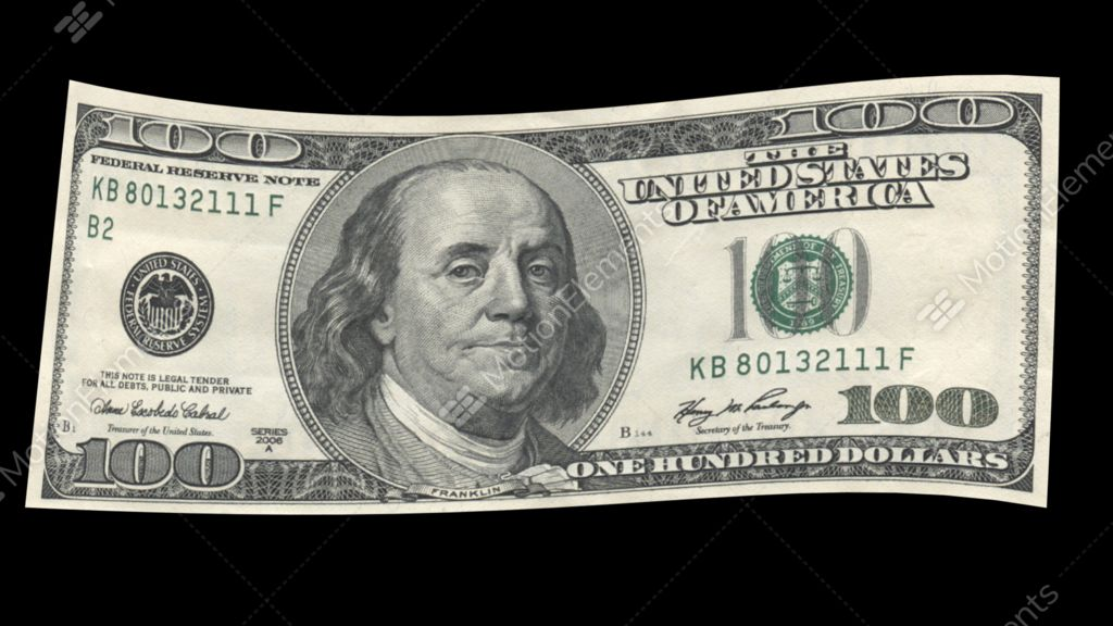 us 100 dollar bill blowing in the wind stock animation