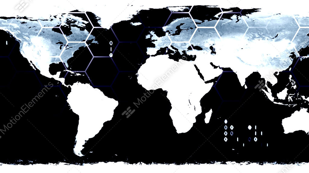World Map High Tech Digital Satellite Data View Wa Stock Animation - World map satellite view video