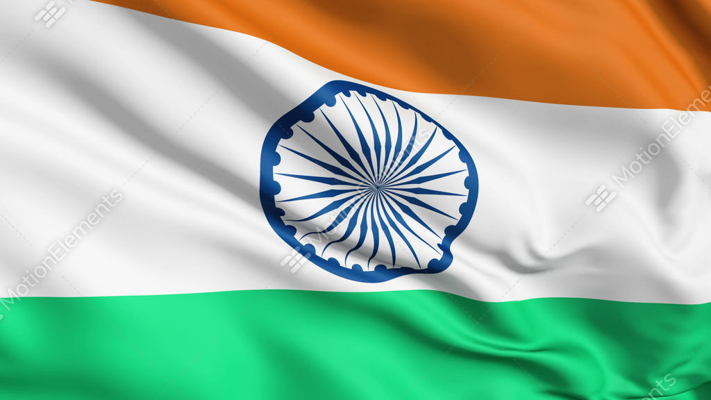 Indian Animated Flag Waving: Realistic 3d Seamless Looping India Flag Waving In The